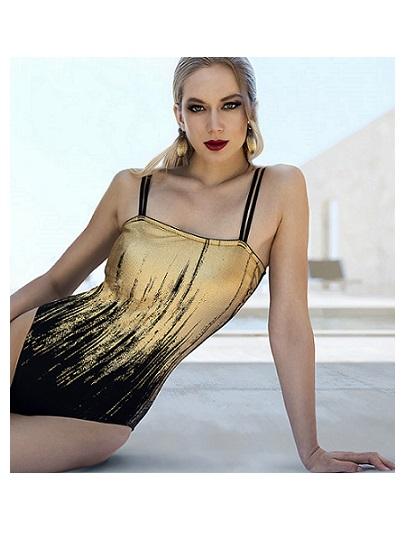 Arany-fekete egyrészes texturált fürdőruha Fashy