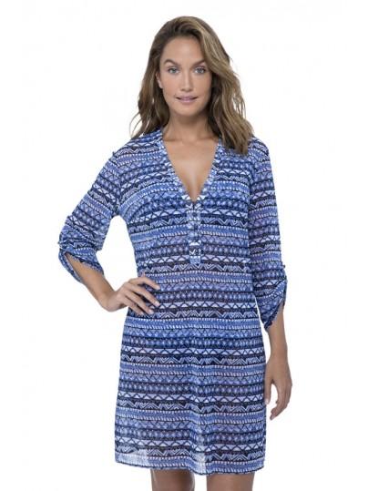 Kék apró mintás strandruha Gottex